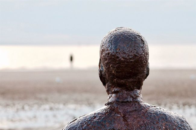 Taking Pictures Sea Beach Water Focus On Foreground Horizon Over Water Statue Tranquility Nature Tranquil Scene Sky Outdoors Beauty In Nature Scenics Walking Around Sculpture Crosby Beach Anotherplace Photography Eyeemphotography Taking Photos Liverpool Weekend Activities Silhouette EyeEm Nature Lover