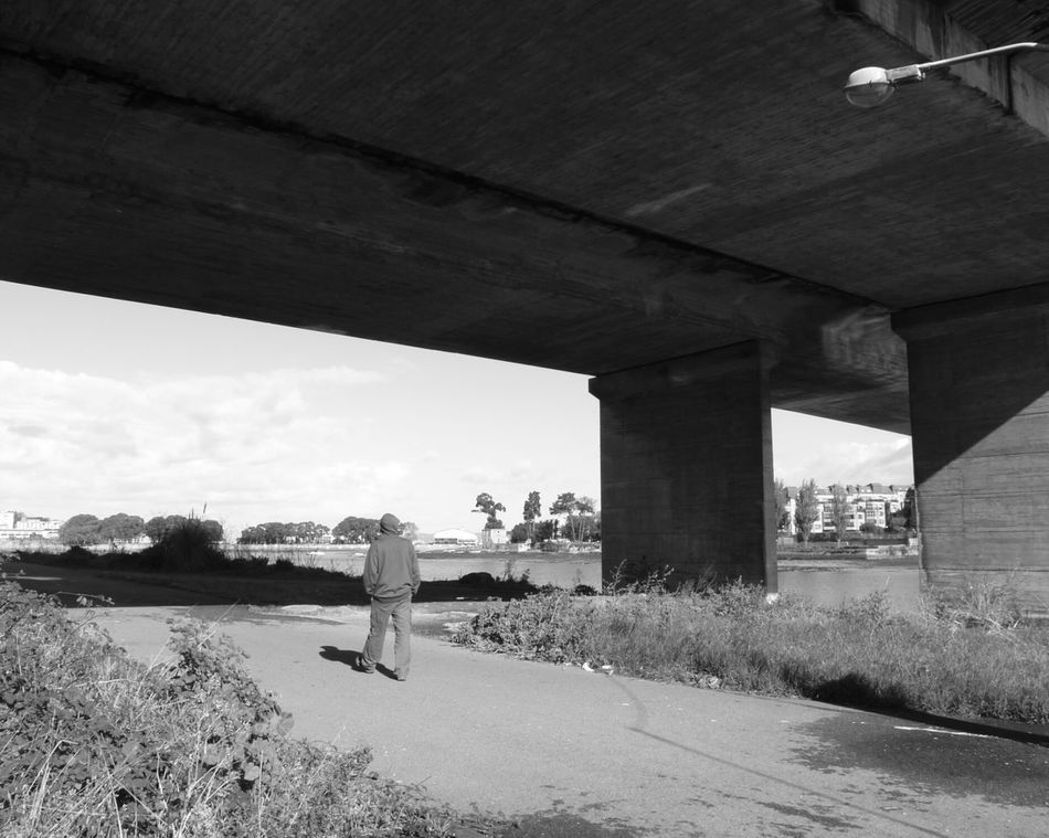 Architecture Bridge - Man Made Structure Built Structure City River Bridge Outdoors One Person Walking Only Person Black & White