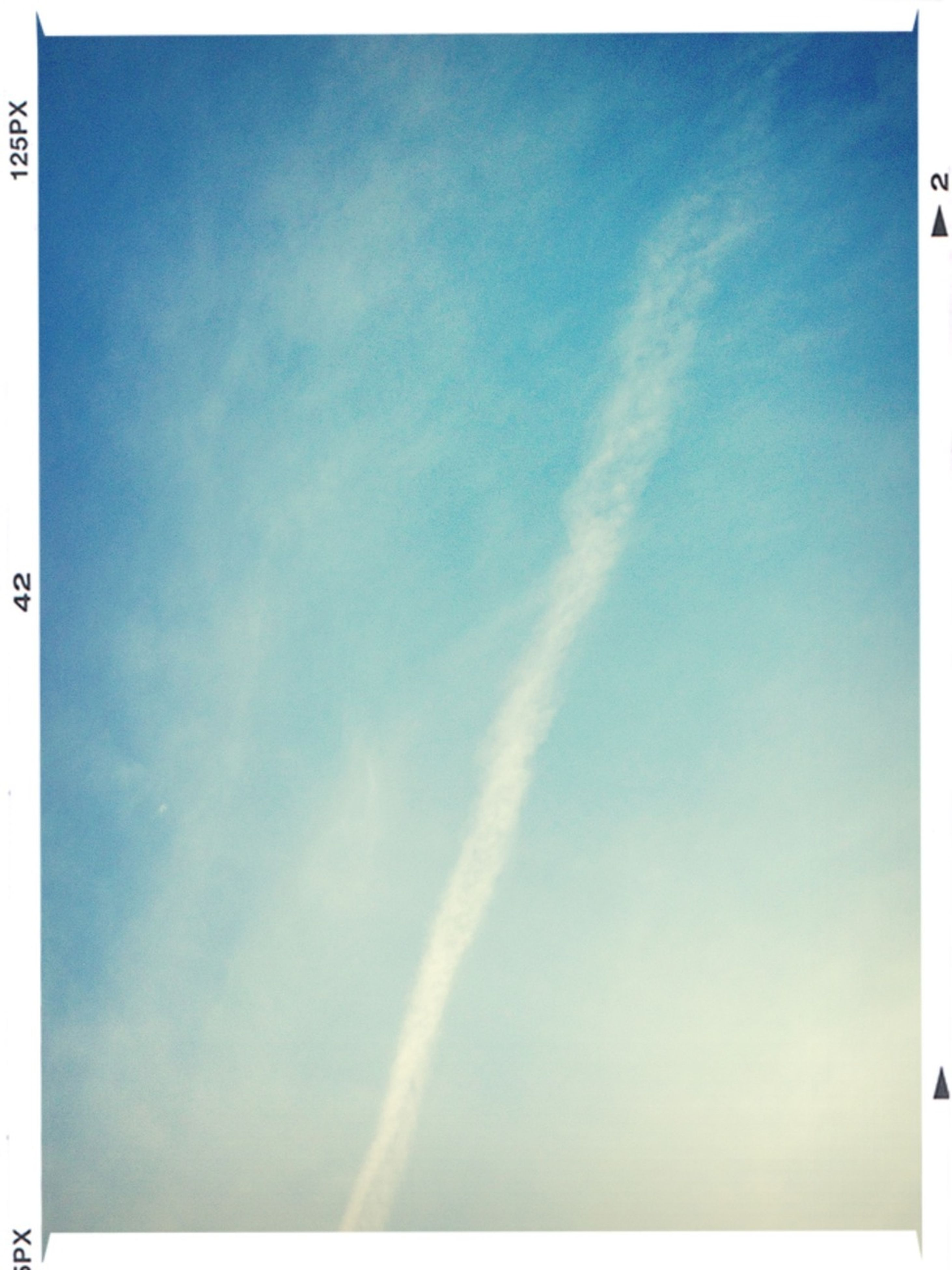 transfer print, blue, auto post production filter, sky, low angle view, beauty in nature, cloud - sky, tranquility, nature, cloud, scenics, tranquil scene, copy space, outdoors, day, no people, idyllic, sunlight, cloudy, backgrounds