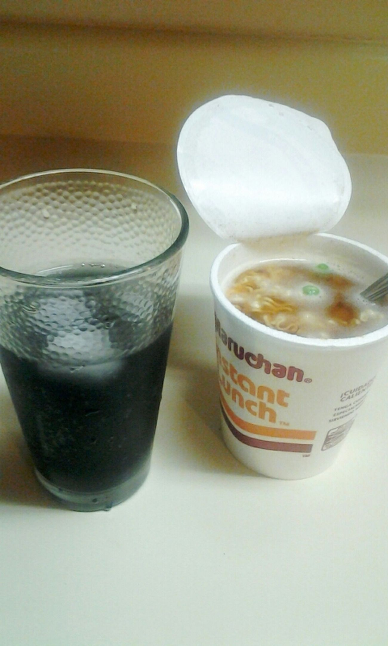 about to go in ! lol .. noodles & grape sodaa ayee