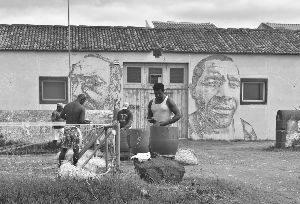 Real People Azores Pontadelgada Fishermen Nets Blackandwhite Mural Art Working Hard Work Labour Streetphotography