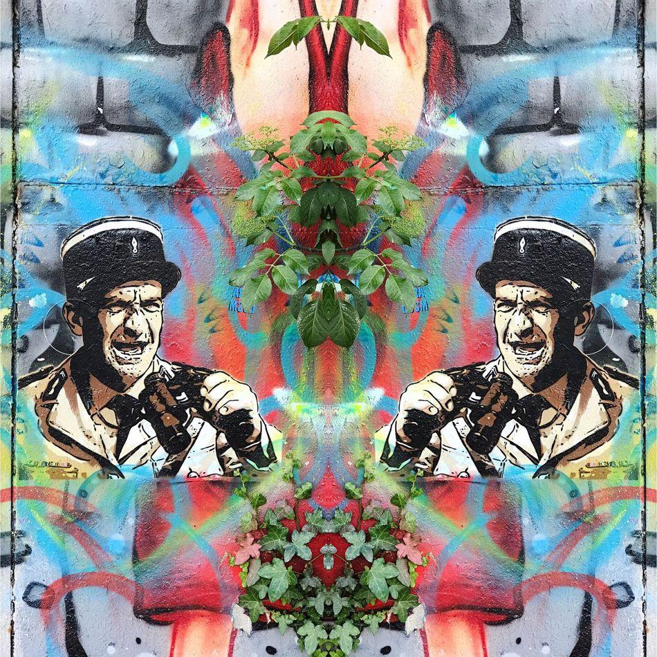 Creativity Human Representation Louisdefunes Bordeaux Hangar Darwin Graffiti Multi Colored Art And Craft Wall