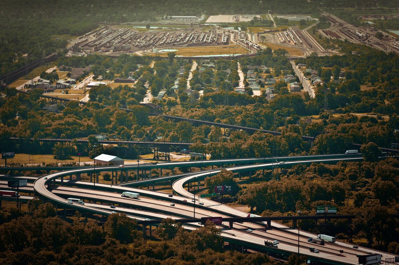 Frachtknoten (2011) Aerial View Dust Freight High Angle View Highway Highways&Freeways No People Stlouismissouri Traffic Trainyard Transportation Trucks USA