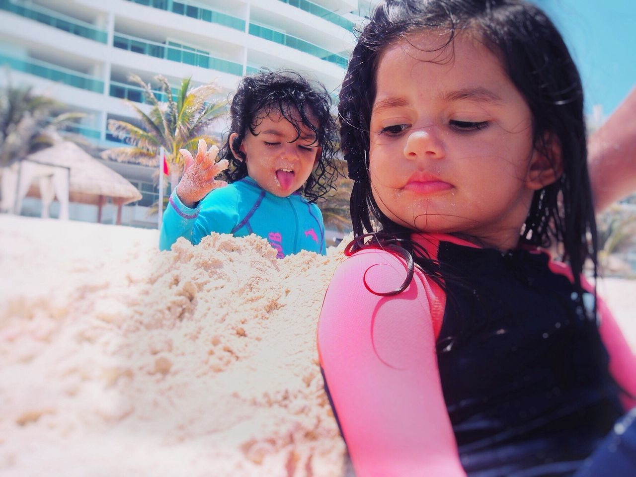Don't Eat Sand ! Childhood Girls Innocence Baby Cute Toddler  Real People Family Daughter Togetherness Outdoors Lifestyles Curly Hair Day Child Beach Travel EyeEmNewHere Eating Sand Eating Funny Funny Faces Close-up