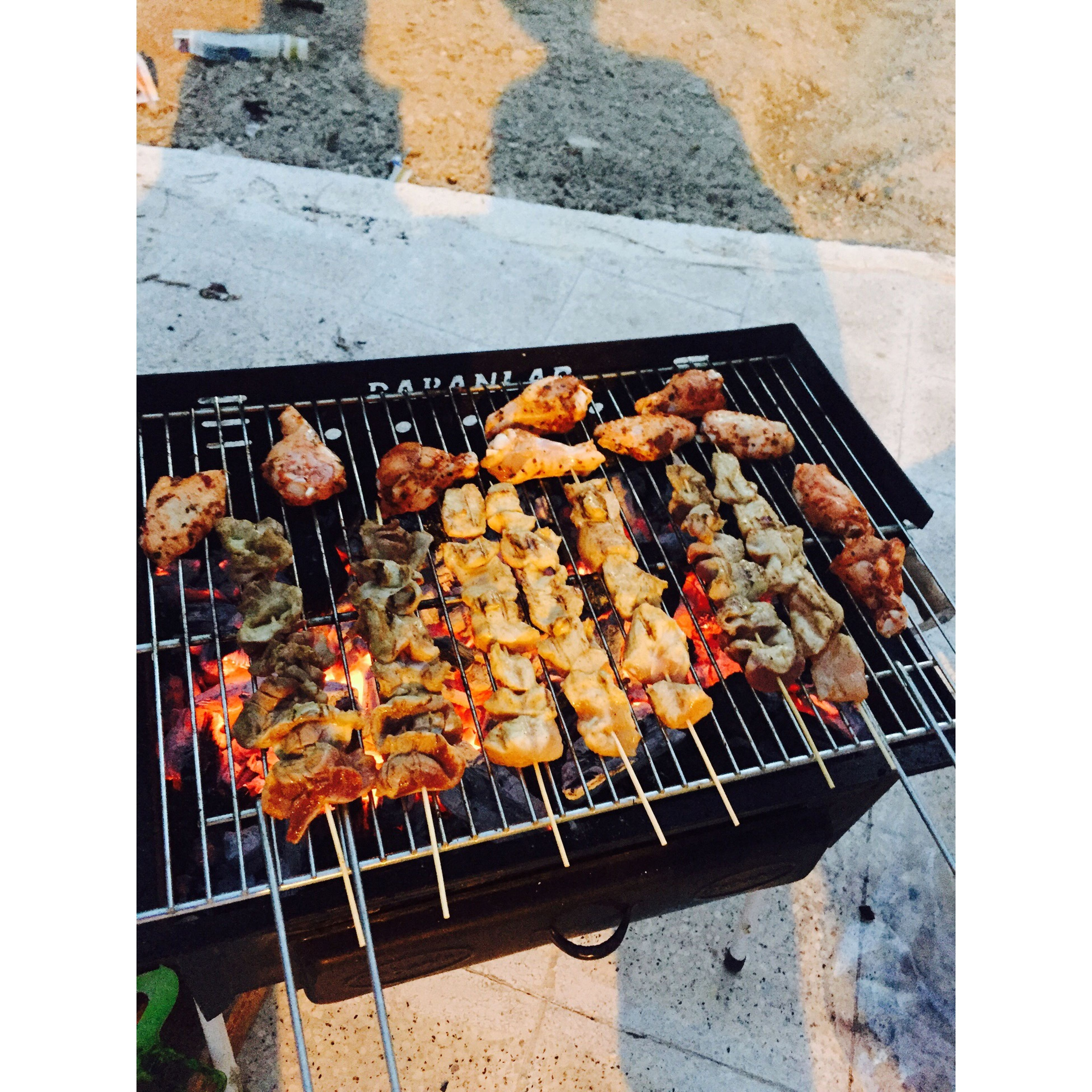 food, food and drink, barbecue grill, freshness, meat, barbecue, grilled, preparation, cooking, healthy eating, heat - temperature, preparing food, grill, roasted, transfer print, high angle view, abundance, sausage, skewer, seafood