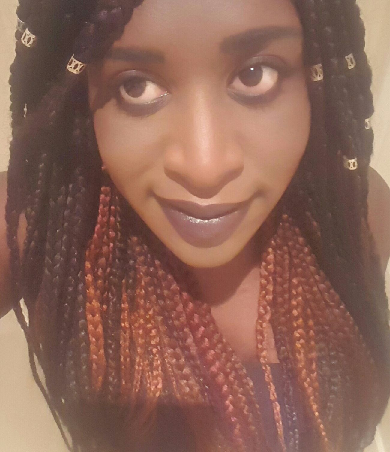 Back to braids! Box Braids Red Purple And Black Hair That's Me Purple Lipstick