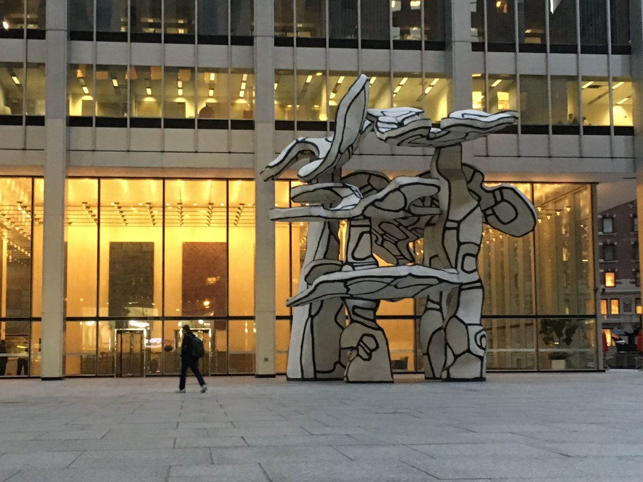 Dubuffet Architecture Art Built Structure Walking Building Exterior New York City New York Full Length City Lifestyles Illuminated Creativity Night City Life Outdoors Orange Color In Front Of Footpath Architectural Feature Architectural Column Urban Geometry