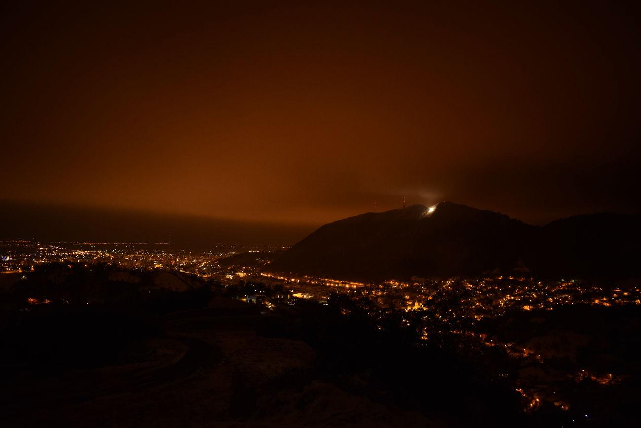 Love Brașov! ❤ Night Illuminated Cityscape Nature No People Sky Beauty In Nature City Natural Phenomenon Astronomy Mountain Winter Snow Moments Scenics