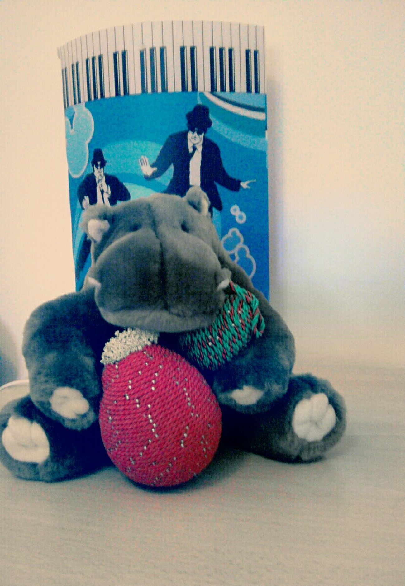 Hippo Peluche Colored Eggs Music Blue Red Sweet Better Together Getting Creative