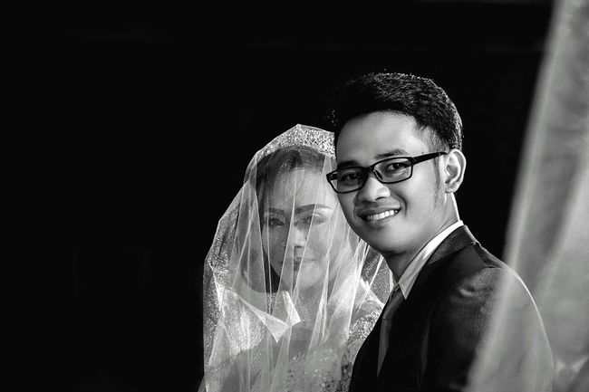 Finally we are one Person Indoors  Wedding Wedding Photography Weddings Around The World Enjoyment Human Face Open Edit EyeEm Best Shots Journey Monochrome Photography Black And White Bw Couple Portrait EyeEm Best Shots - Black + White Blackandwhite Casual Clothing Young Adult