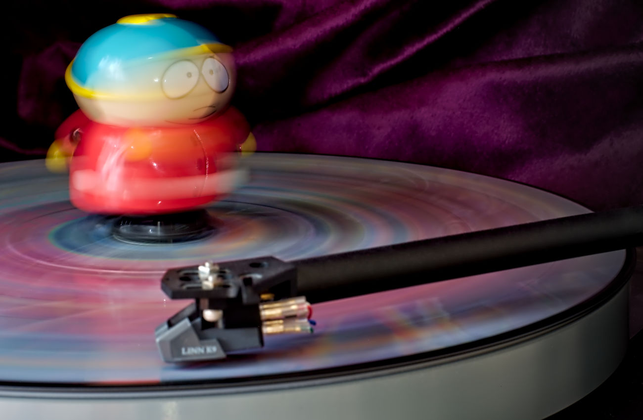 hey, but don't forget Eric - and have a nice party ; ) : ) Analog Music Arts Culture And Entertainment Blurred Motion Cartman Close-up Eric Fantasy Figurine  Fun Light And Shadow Long Exposure Motion Multi Colored Music Nikon Record Red Southpark Spinning Tgif Toy Toy Adventures Turntable Vinyl