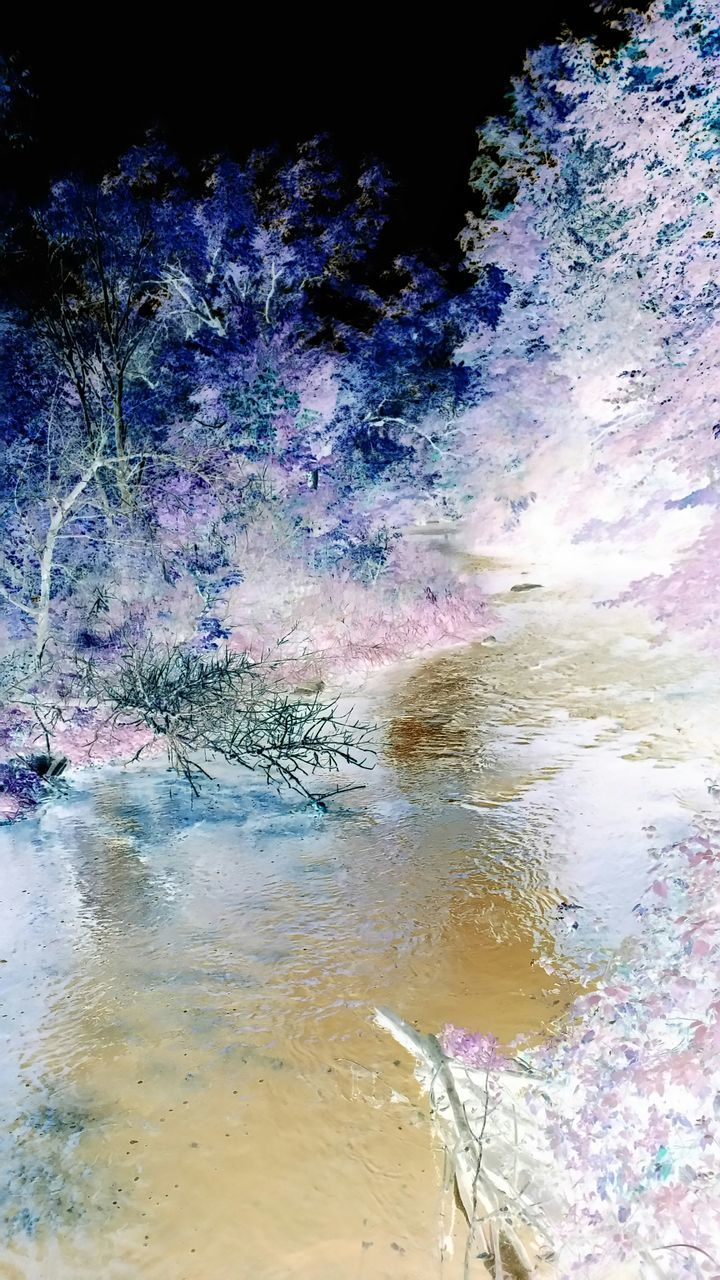 water, no people, nature, outdoors, beauty in nature, multi colored, day, scenics, oil spill, sky, close-up