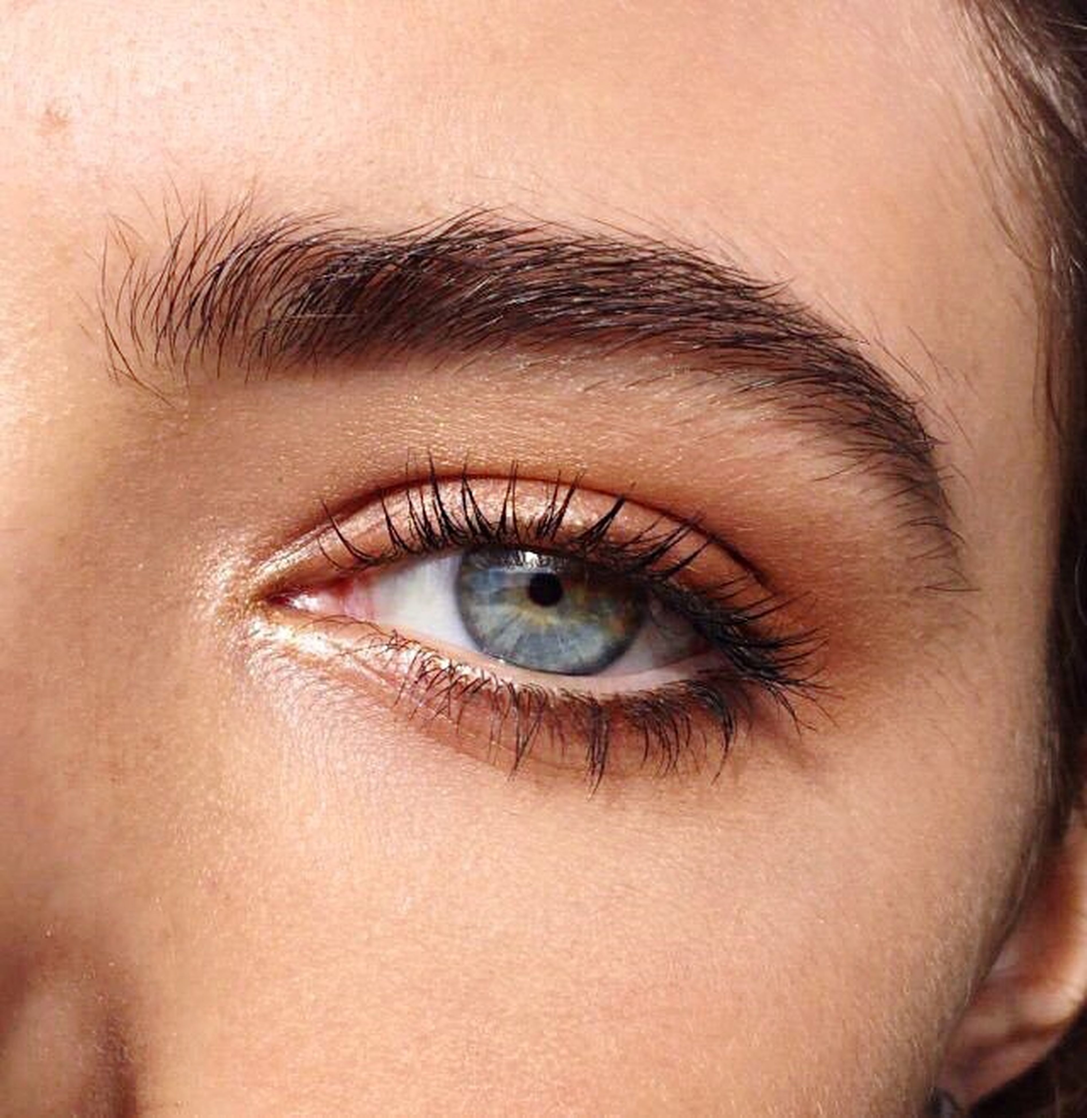 close-up, human eye, eyelash, eyesight, person, looking at camera, human skin, focus on foreground, eyebrow, one woman only, eyeball
