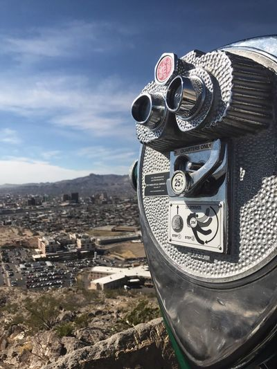 Building Exterior Day Coin-operated Binoculars Sky Architecture Built Structure Outdoors No People Close-up Cloud - Sky Mountain Cityscape Nature El Paso Tx El Paso Scenic View Scenic Drive In ELP Scenic Drive City Life City
