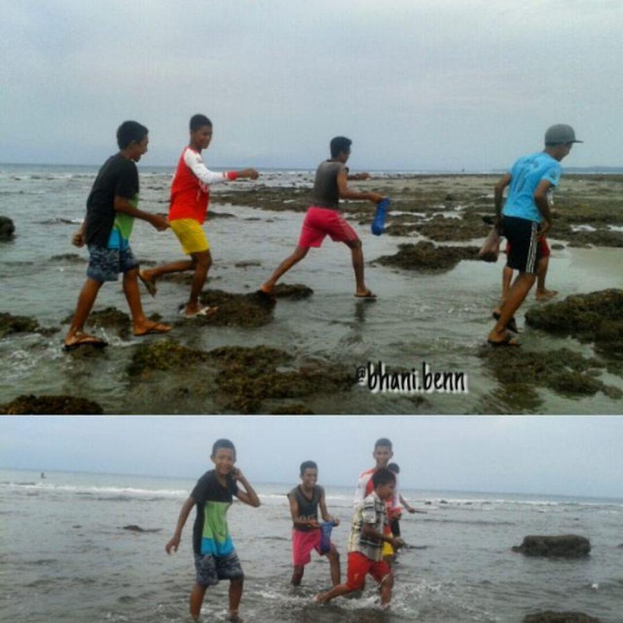 Mereka anak pantai...memburu gurita adalah rutinitas setiap air surut. Beach Photooftheday Ujongbatee Acehbesar Aceh