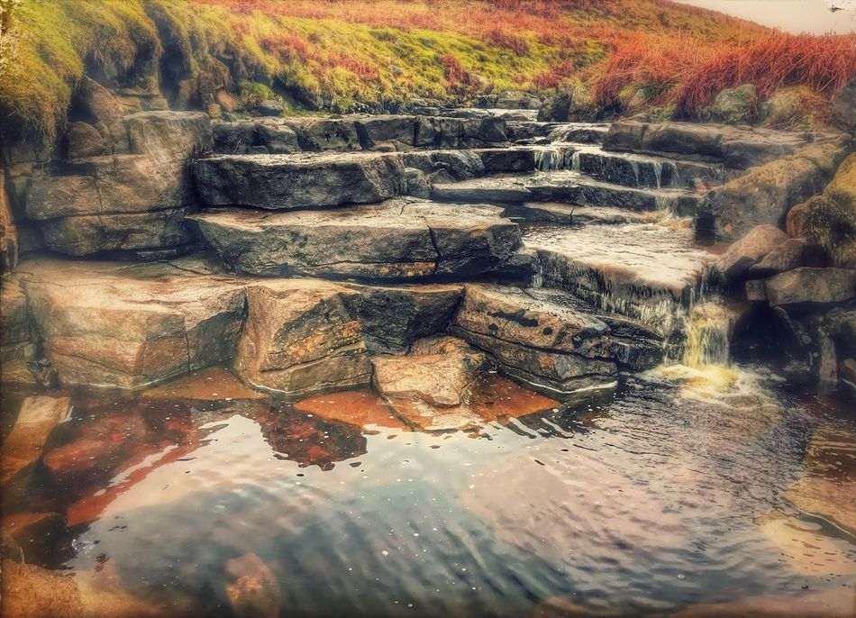 Small but lovely natural rock flowing water feature in the Yorkshire Dales. Nature Water Reflection No People Day Outdoors Tranquility Leaf Beauty In Nature Scenics Close-up Stones Rocks Stones & Water Rock And Water Yorkshire Dales