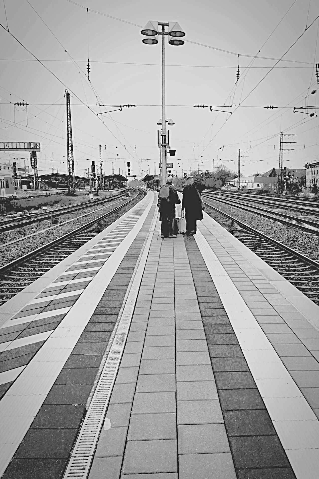Pasing Bavaria Blackandwhite Blackandwhite Photography Black & White Built Structure Architecture Urban Munich München München,Germany München-Pasing Tracks Station Waiting For A Train Wait Reisefieber Human Meets Technology Feel The Journey Long Goodbye
