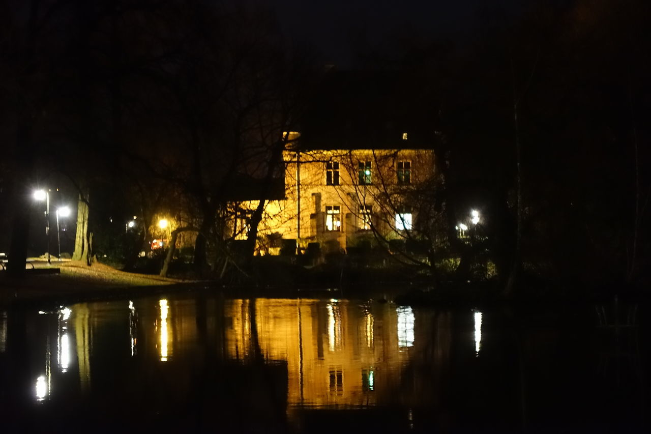 night, illuminated, reflection, built structure, architecture, building exterior, no people, water, outdoors, sky, nature