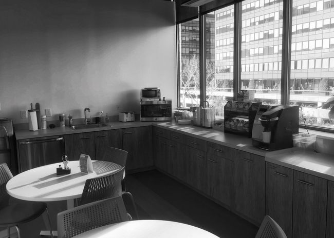 Appurtenance Blackandwhite Office Break Breakroom Quiet Breakfast Morning Light Architecture Building Space Area Common Corner Bw Monochrome Desaturated