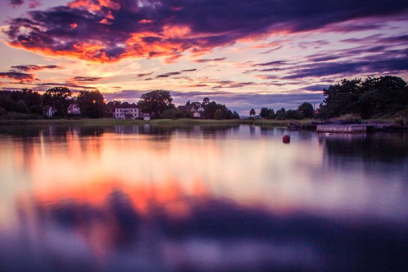 Reflected beauty Sunset Tranquil Scene Tranquility Water Beauty In Nature Reflection Calm Cloud - Sky Sky Standing Water Dramatic Sky Summer Norway Scandinavia Langesund