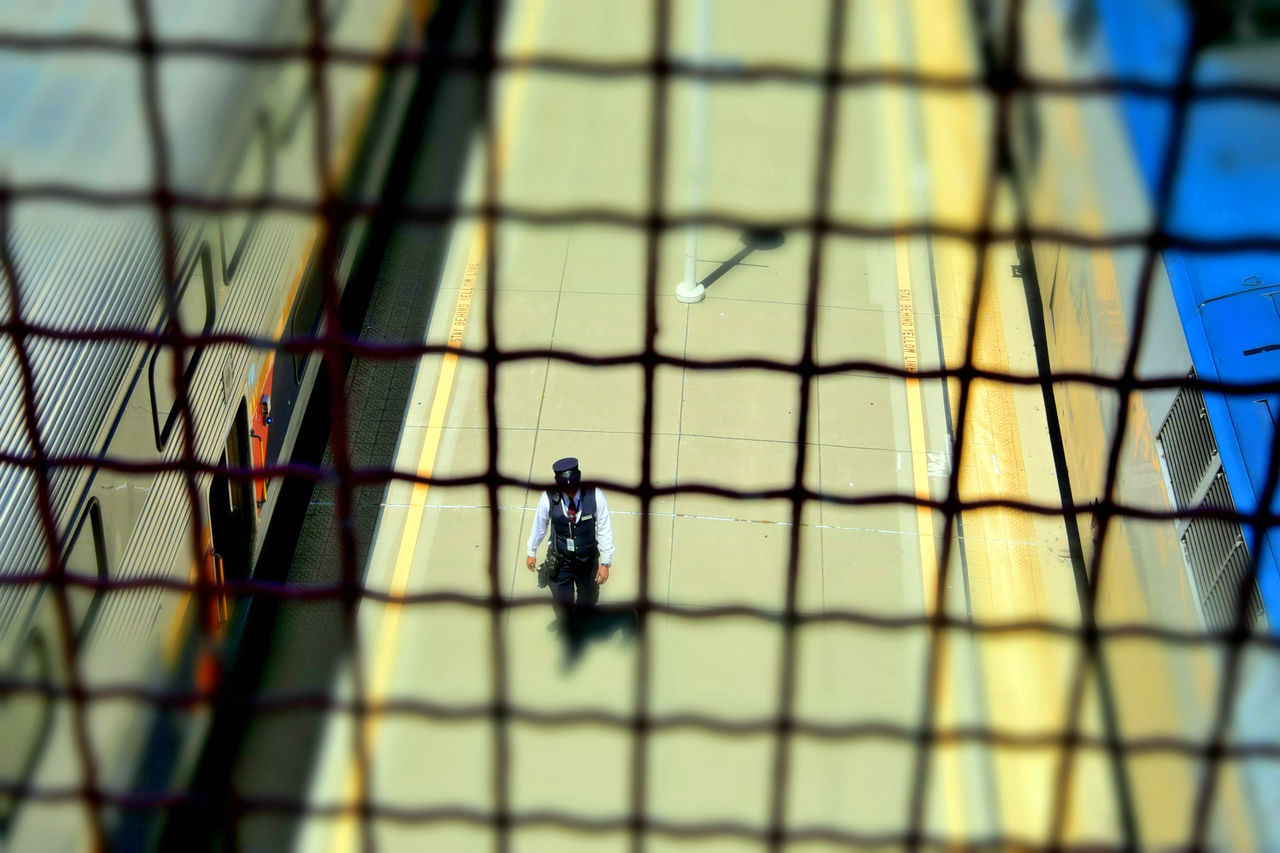 Train Station Catwalk 8 Jack London Square Port Of Oakland, Ca. Union Pacific Railroad Overpass Overpass View Trains Amtrak Trains Train Platform Train Conductor Train Lovers Distortion Distorted View Miniaturized Railroad Railroad Photography Railroad _collection