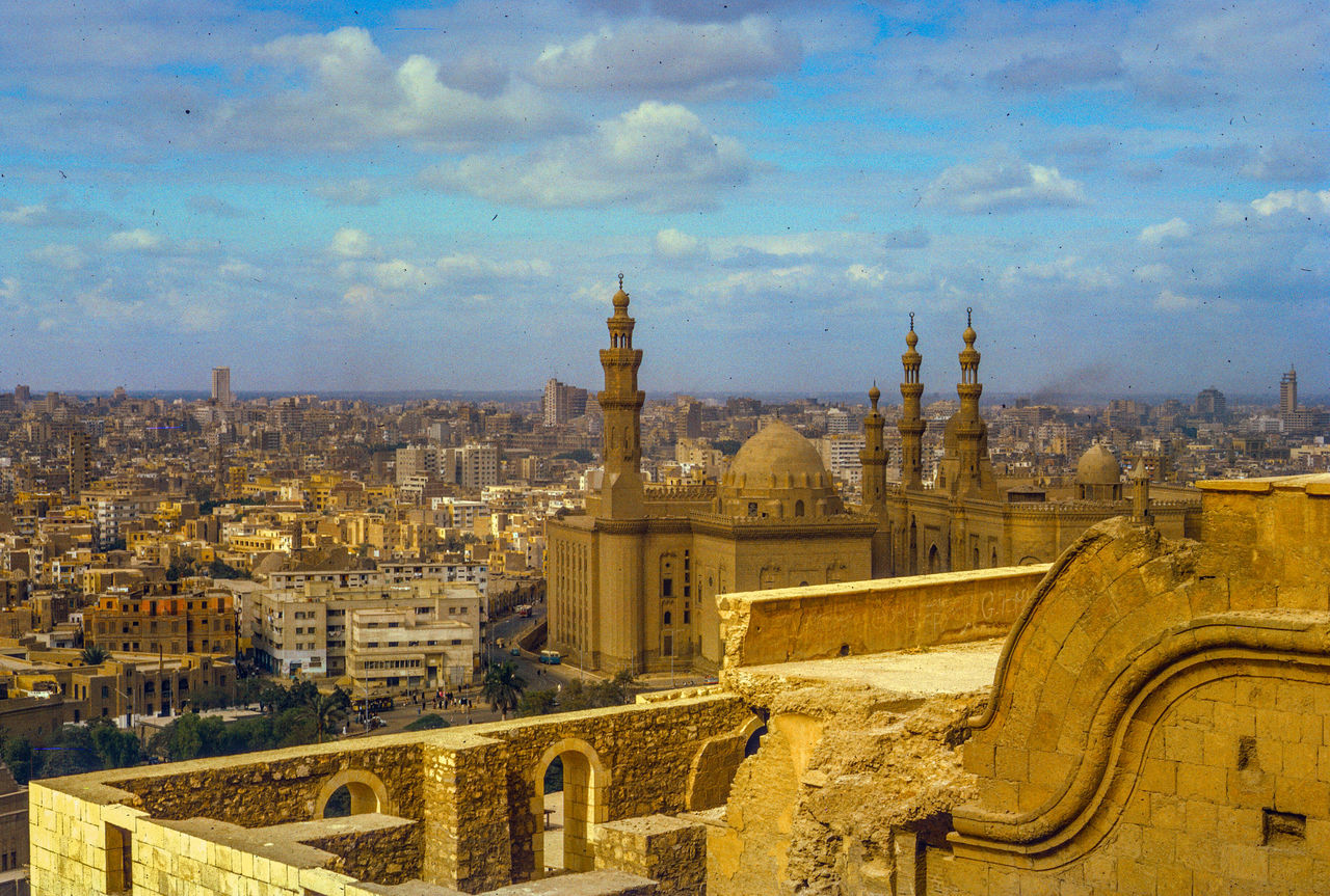 Cairo Skyline - Kodachrome Slide - 1965 Aerial View Ancient Civilization Architecture Building Exterior Built Structure Composition Dome Famous Place Free Egpyt History International Landmark Islam Mosque Perspective Place Of Worship Religion Spire  Spirituality Top Perspective Tourism Tower