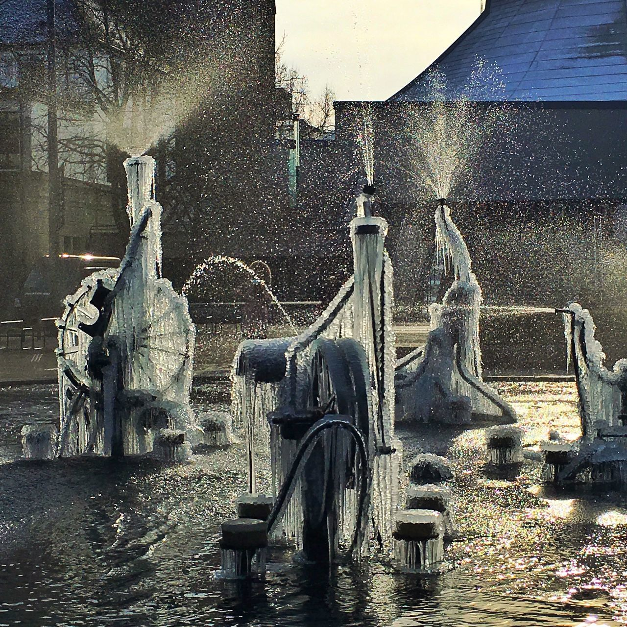 Architecture Art Art And Craft Creativity Fountain Frozen Ice Metal Old Sculpture Statue Sunlight Tinguely Tinguely Brunnen Water Winter