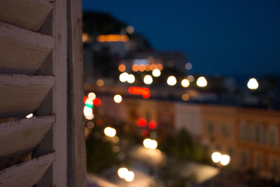 Good night! Illuminated Night No People City Close-up Architecture Defocused Bokeh Photography Bokeh Lights Bokeh Nightshot Night Lights EyeEmNewHere Art Is Everywhere Nice / Nizza Shutters Balcony Balcony View