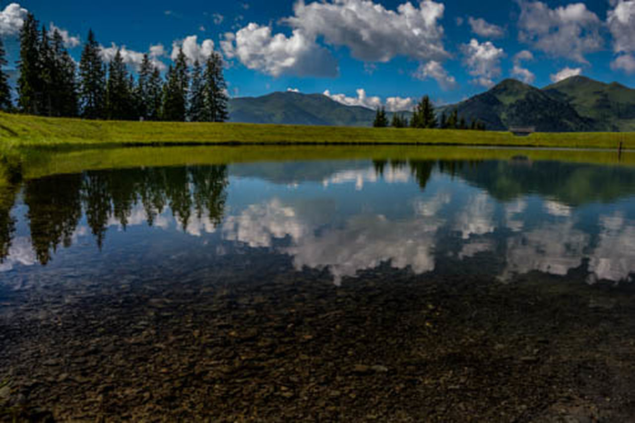 reflection, lake, mountain, scenics, cloud - sky, water, sky, outdoors, nature, mountain range, tree, no people, beauty in nature, day
