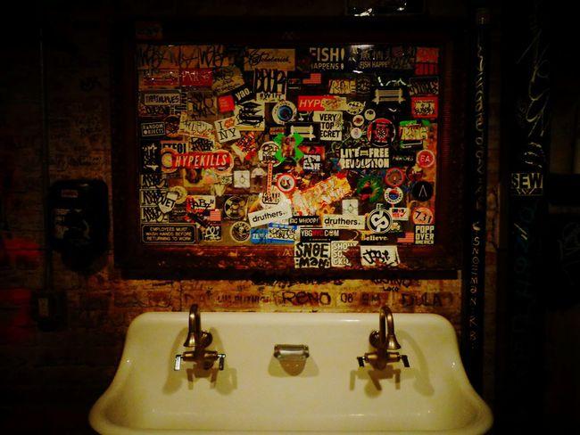 NY, USA. Indoors  No People Tap Water Mirror Stickers Restaurant Art EyeEmNewHere at Dinosaur Bar-b-que Brooklyn NY USA