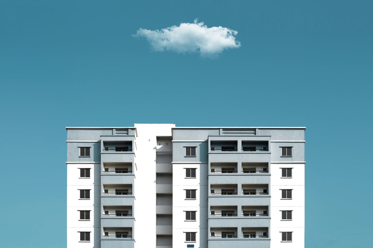 Architecture, Blue & Cloud Architecture Blue Building Exterior Built Structure City City Life Clear Sky Cloud Day Modern Outdoors Residential Building Sky Tall - High Tower White Window