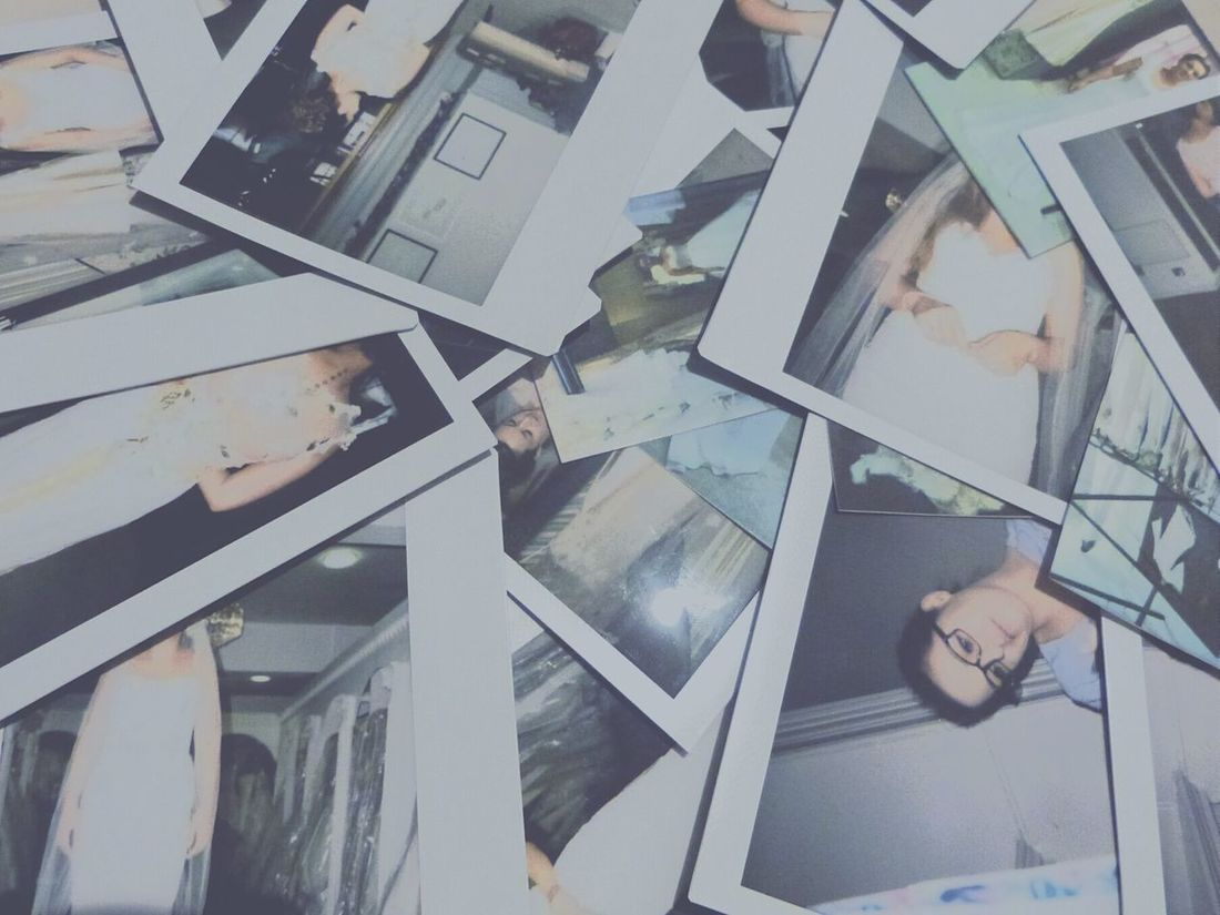 Pile of polaroids Polaroids Polaroid Cool Dresses Wedding Wedding Dress Wedding Dresses Instax Instant Photos