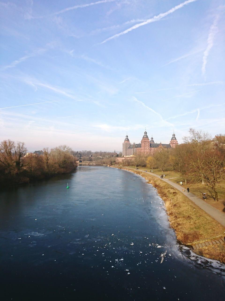 Frozen River Against Sky At Aschaffenburg