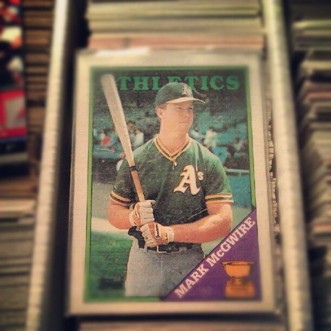 Brought this box of cards from the flea market and look what I found. A MarkMcGuireRookieCard