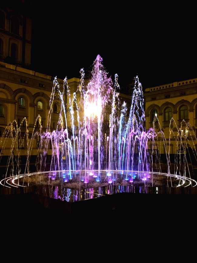 Illuminated Night Fountain Lighting Equipment Building Exterior Built Structure Architecture Motion Decoration Water Culture