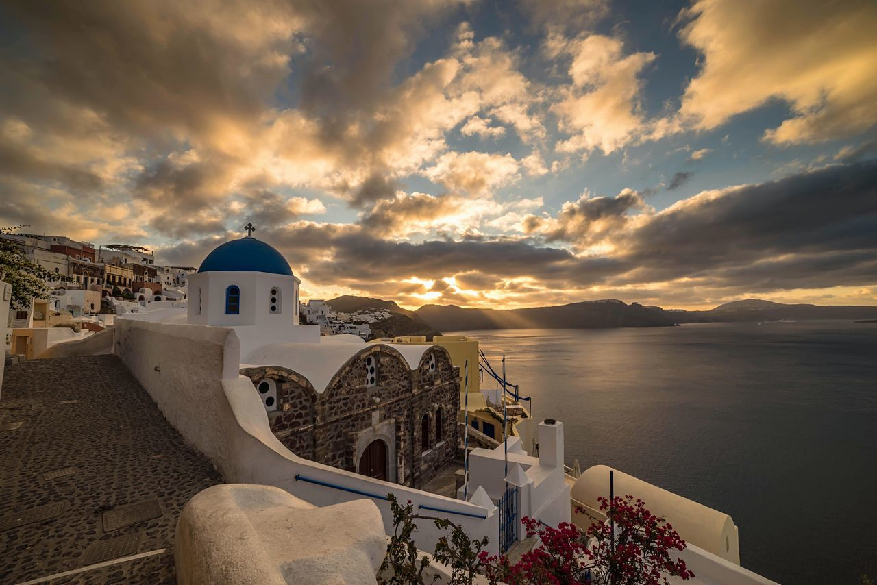 Gorgeous Greece Architecture Built Structure Building Exterior Cloud - Sky Sky Water High Angle View Sunset Sea Outdoors No People Nature Spirituality Town Whitewashed Beauty In Nature Fish-eye Lens Day Horizon Over Water Santorini Oia Santorini Greece Greek Islands Greek Holiday Sunrise
