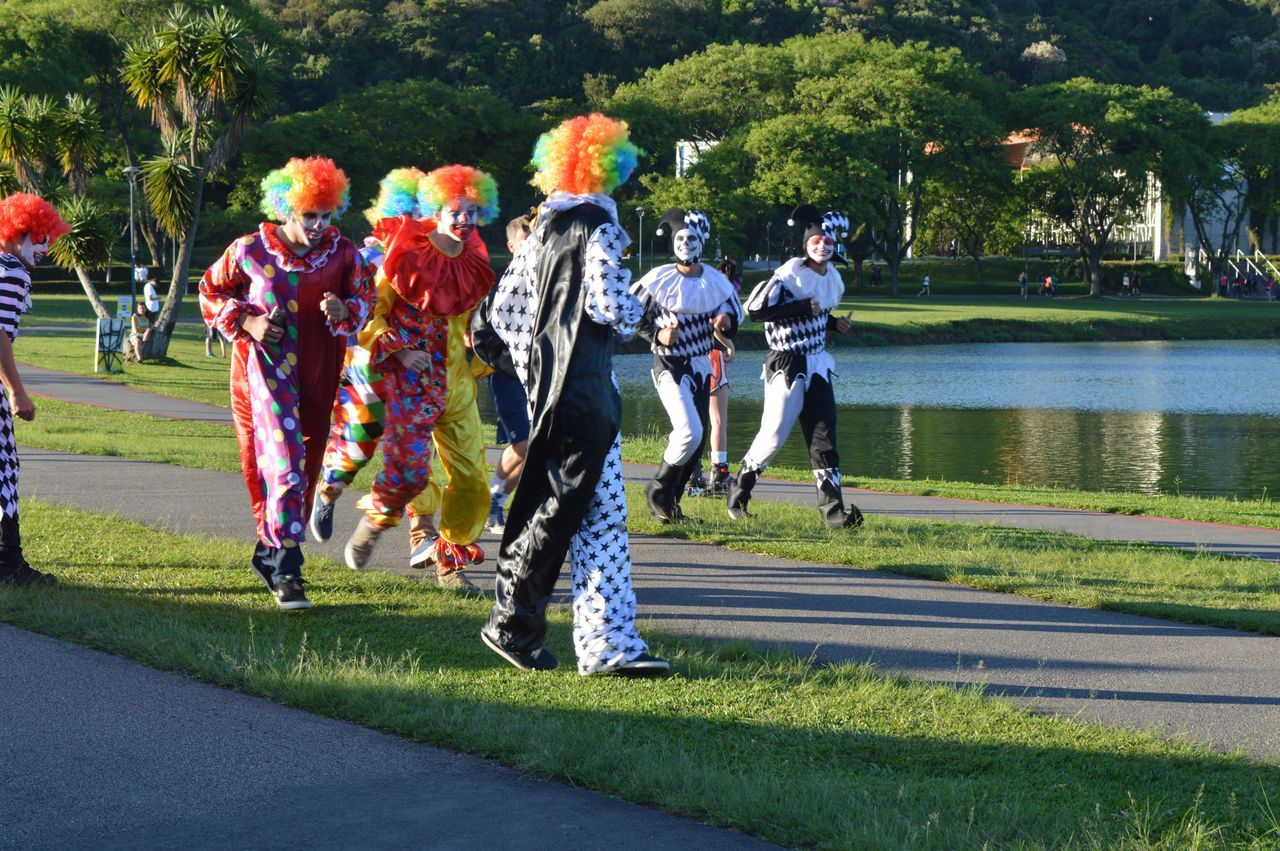 Happiness Clown Running Competition People