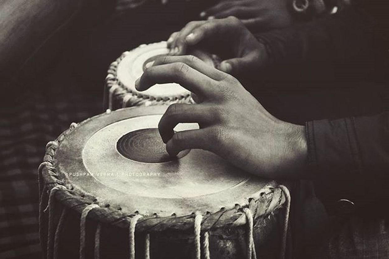 Tabla : it is a membranophone percussion instrument which is often used in Hindustani Classical Music and in the Traditional music of Afghanistan India Pakistan Nepal Bangladesh and SriLanka . The Instrument consists of a pair of hand Drums of contrasting sizes and timbers. Blackandwhite Tabla Muzaffarpur Pushpamverma