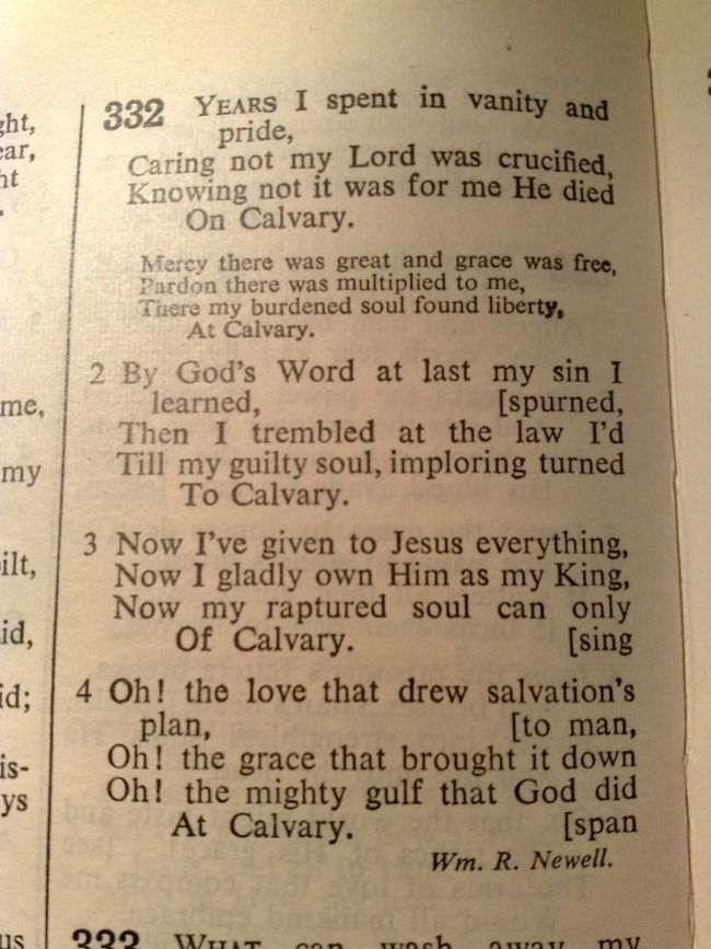At Calvary, a hymn. Bible Verses Hymns Of Old Hymns