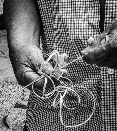 Local Basket Weaver Preparing Wood for Weaving Carib Territory Caribbean Close-up Dominica Human Hand Kalinago Real People Tropical Paradise