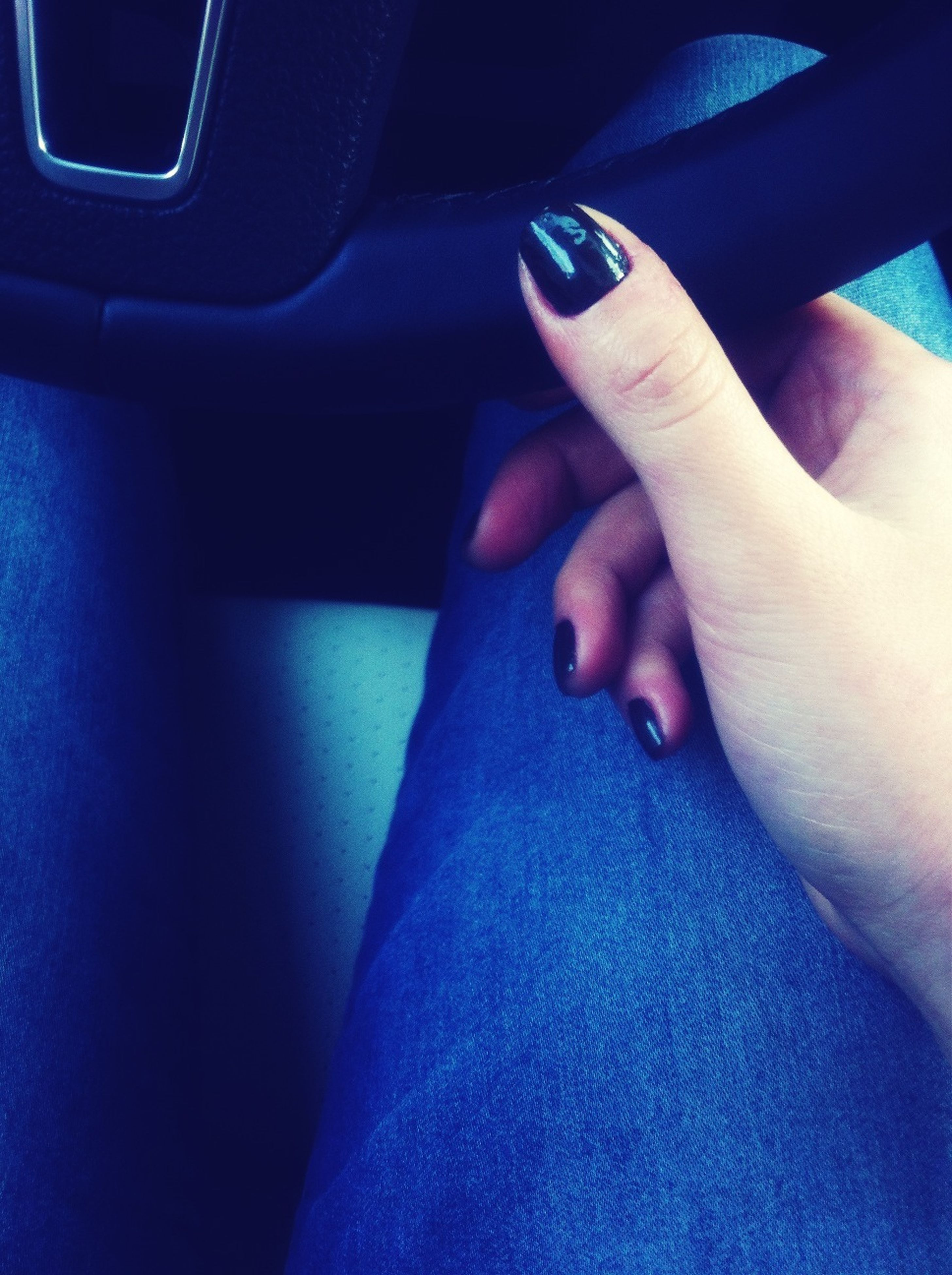 part of, person, indoors, personal perspective, blue, close-up, cropped, human finger, lifestyles, low section, unrecognizable person, men, leisure activity, human foot, vehicle interior