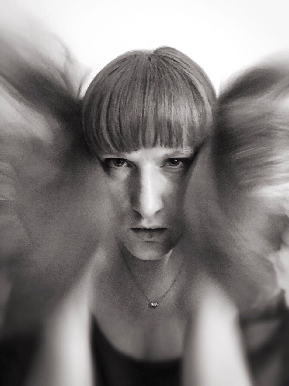 Self Portrait Portrait Female Iphonography Iphoneonly Blackandwhite Motion Move Haircut Direct View Aggressive MorEmotions