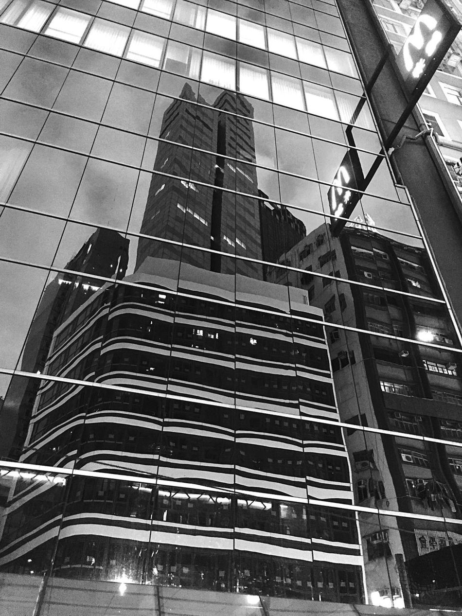 Light And Shadow IPhoneography Cityscape Black And White Black & White Reflection Curtain Walls Glass Reflection Architecture Hong Kong Architecture Urban Built Structure Building Exterior Street Photography Illuminated City At Night