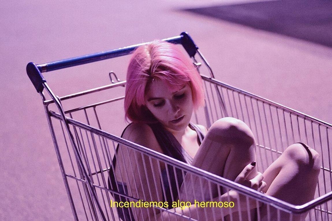 Fashion Youth Sad Subtitles Grunge Teen Portrait Girl Market Pinkhair Night Grunge