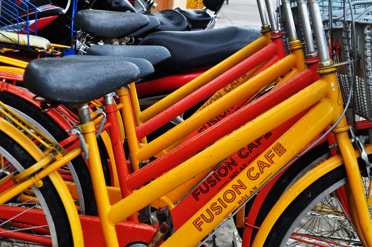 Tourist bicycles for rent in Hoi An, Vietnam. Bicycles Bikes Close Up Day Detail Hoi An Leisure Lifestyle No People Outdoors Seats Service Tourism Transportation Travel Vietnam Villages Waiting Wheels