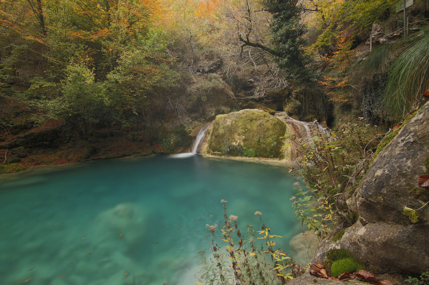 Beauty In Nature Forest Idyllic Mountain Nature Paradise River Tranquility Turquoise Water Urederra Water Waterfall