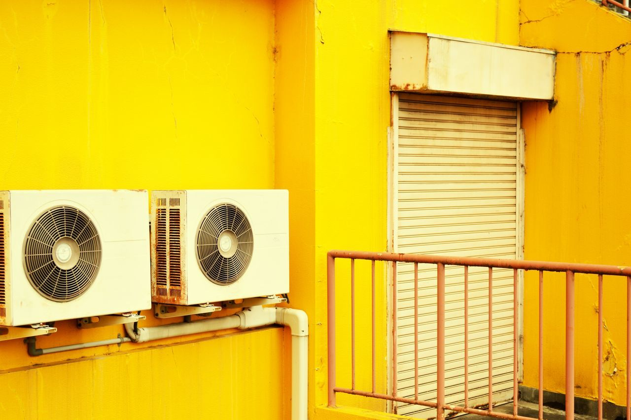 yellow, built structure, air duct, architecture, no people, day, air conditioner, indoors, building exterior, close-up