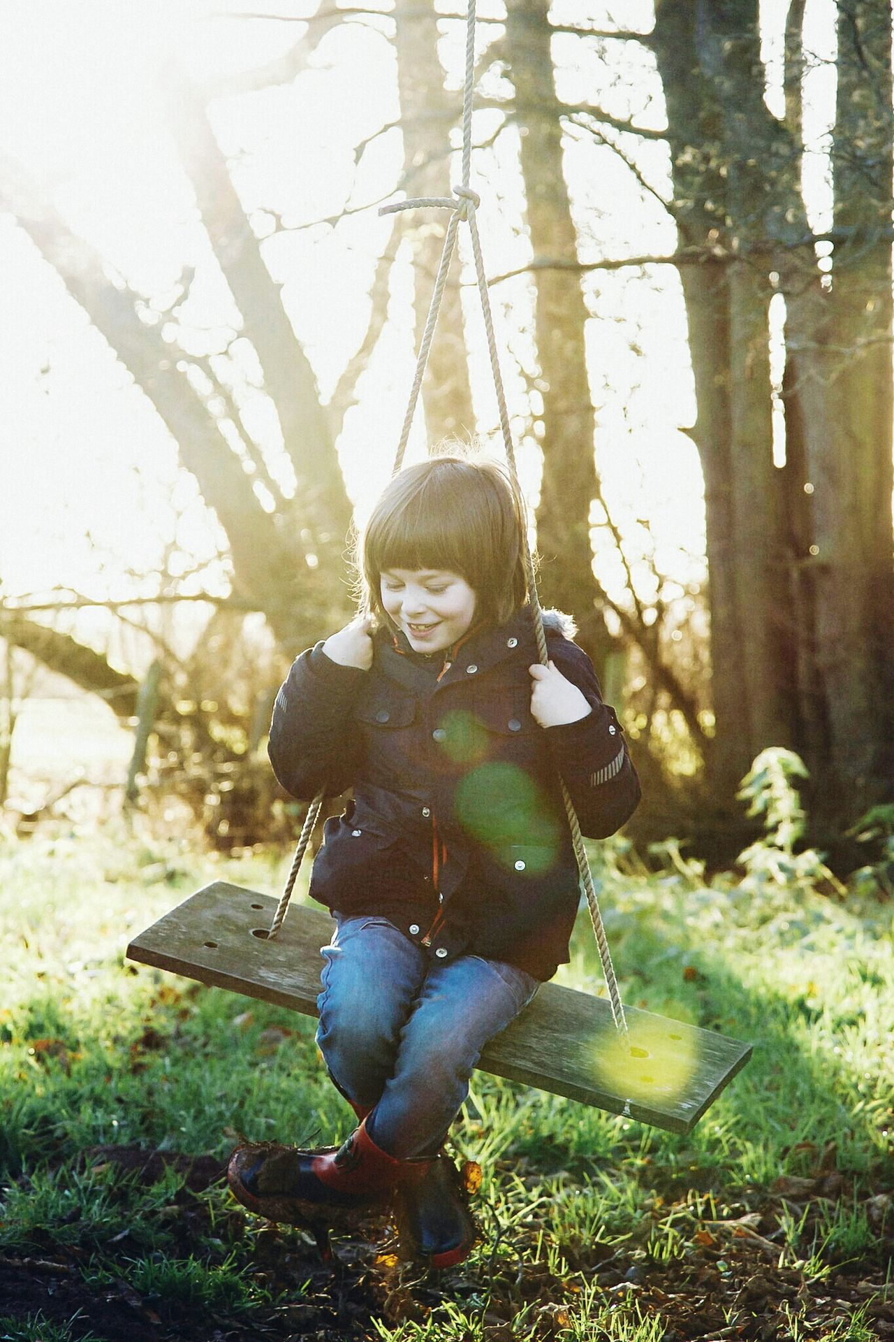 Full Length One Person Smiling Child Holding Portrait Sunlight Happiness Tree Nature Cheerful Grass Day Outdoors Lauraloophotography Swing
