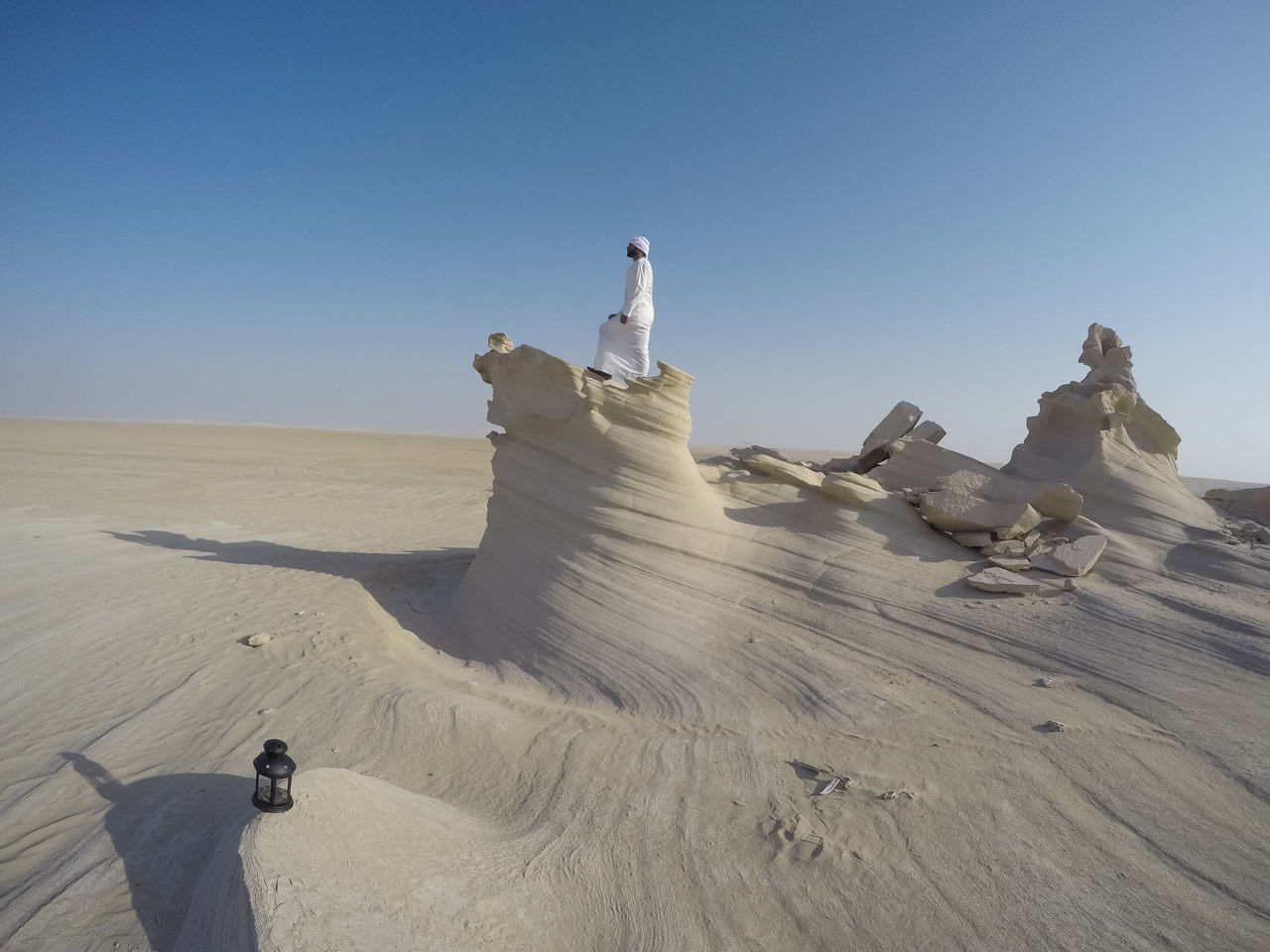 Abudhabi Arabic Style Arid Climate Art And Craft Beauty In Nature Clear Sky Creativity Day Desert Eid Full Length Human Representation Landscape Nature One Person Outdoors People Real People Sand Sand Dune Sculpture Shadow Sky Statue Sunlight