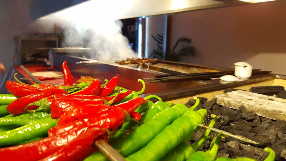 Turkish Food Turkish Raki Vegetable Food And Drink Food Freshness Chili Pepper No People Healthy Eating Red Chili Pepper Indoors  Close-up Smoke - Physical Structure Day Turkish Kebap Cityscape